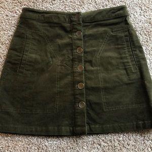 Forever 21 Green Velvet Button Front Skirt Small